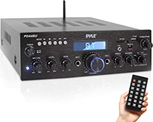 Wireless Bluetooth Power Amplifier System - 200W Dual Channel Sound Audio Stereo Receiver w/ USB, SD, AUX, MIC IN w/ Echo, Radio, LCD - Home Theater Entertainment via RCA, - Pyle PDA6BU