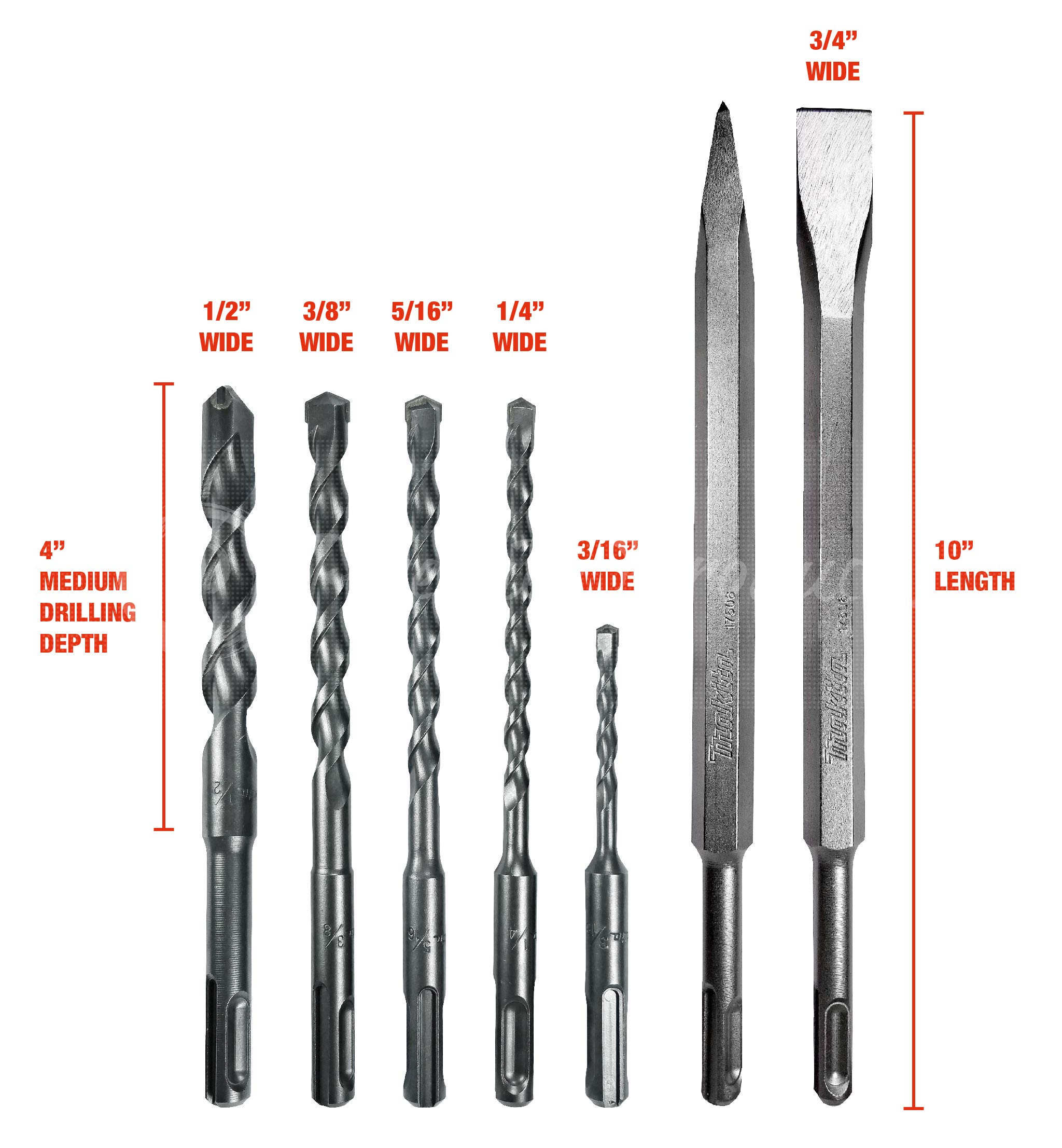 Makita 7 Piece - SDS-Plus Drill, Chisel & Bull Point Bit Set For SDS+ Rotary Hammers - Aggressive Demolition For Concrete & Masonry by Makita (Image #3)