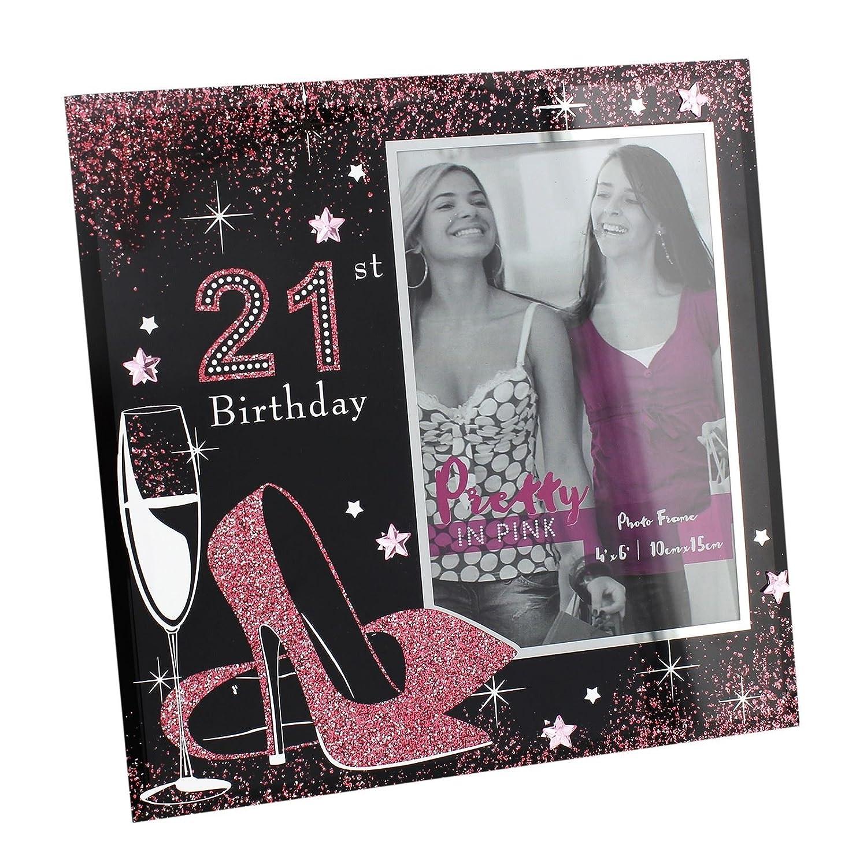 Pretty In Pink \'Glas Rahmen – 21. Geburtstag – 10,2 x 15,2 cm ...