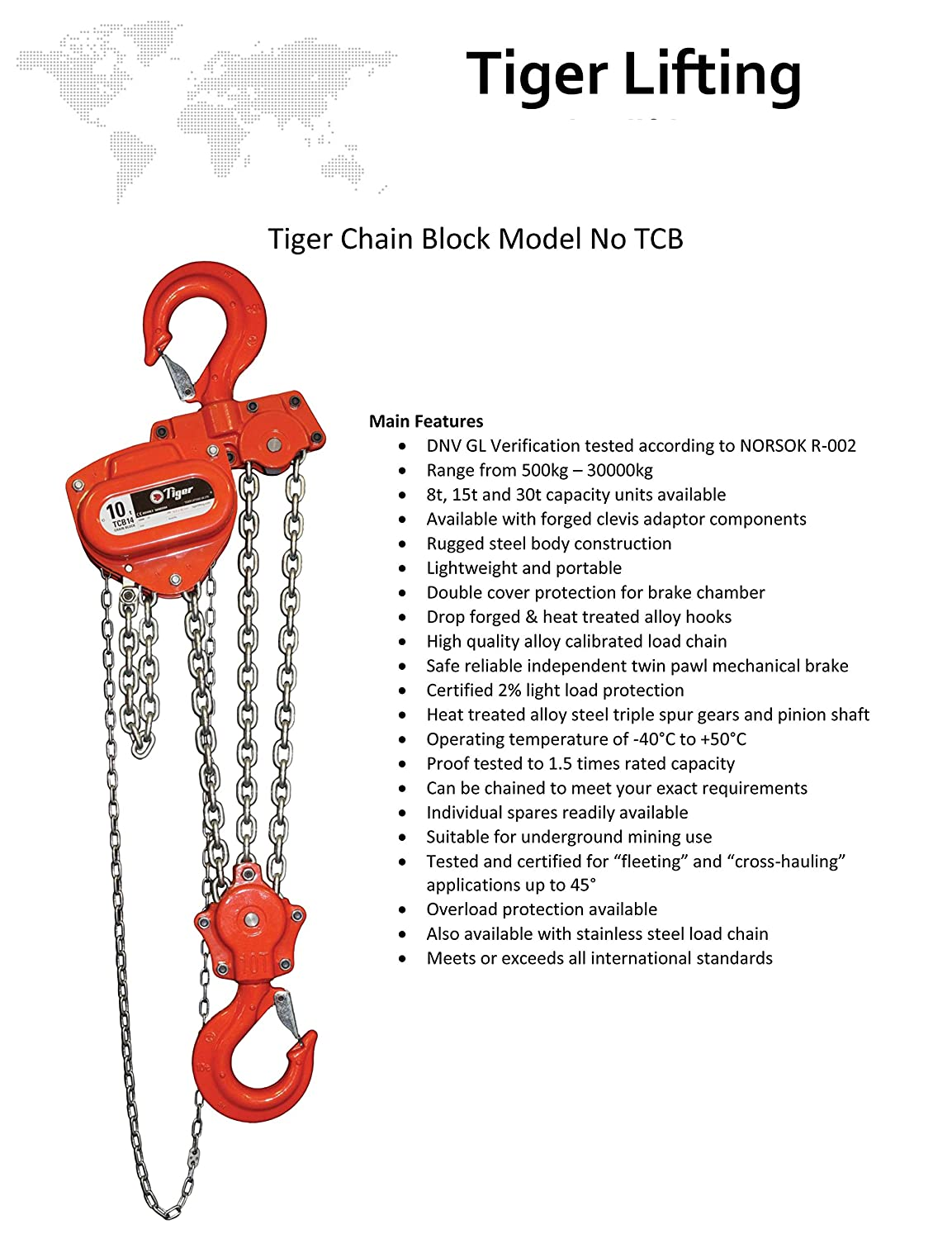 1.0 t TCB Tiger 1t Tiger CB-0100 HCB 12m HOL Hand Chain Hoist 12 m Height of Lift