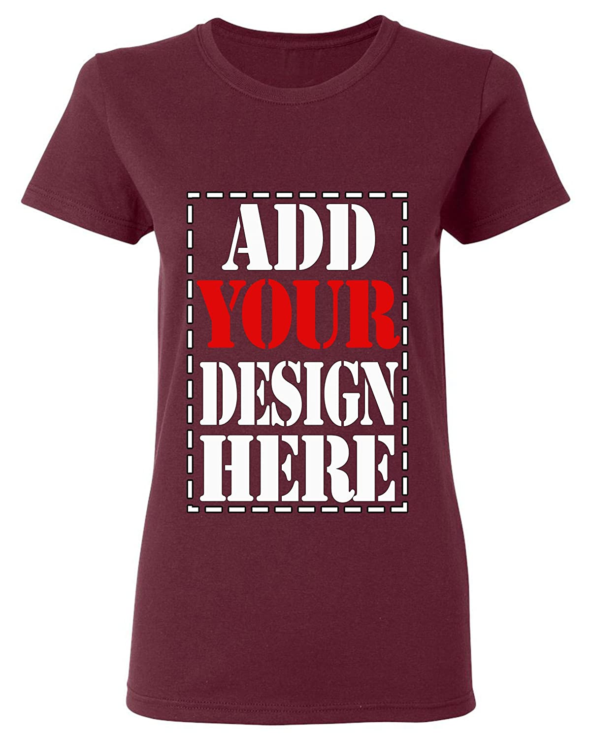 b04d6f53c9 Amazon.com  Design Your OWN Shirt Customized T-Shirt - Add Your Picture  Photo Text Print - Women Tee (Slim Fit)  Clothing
