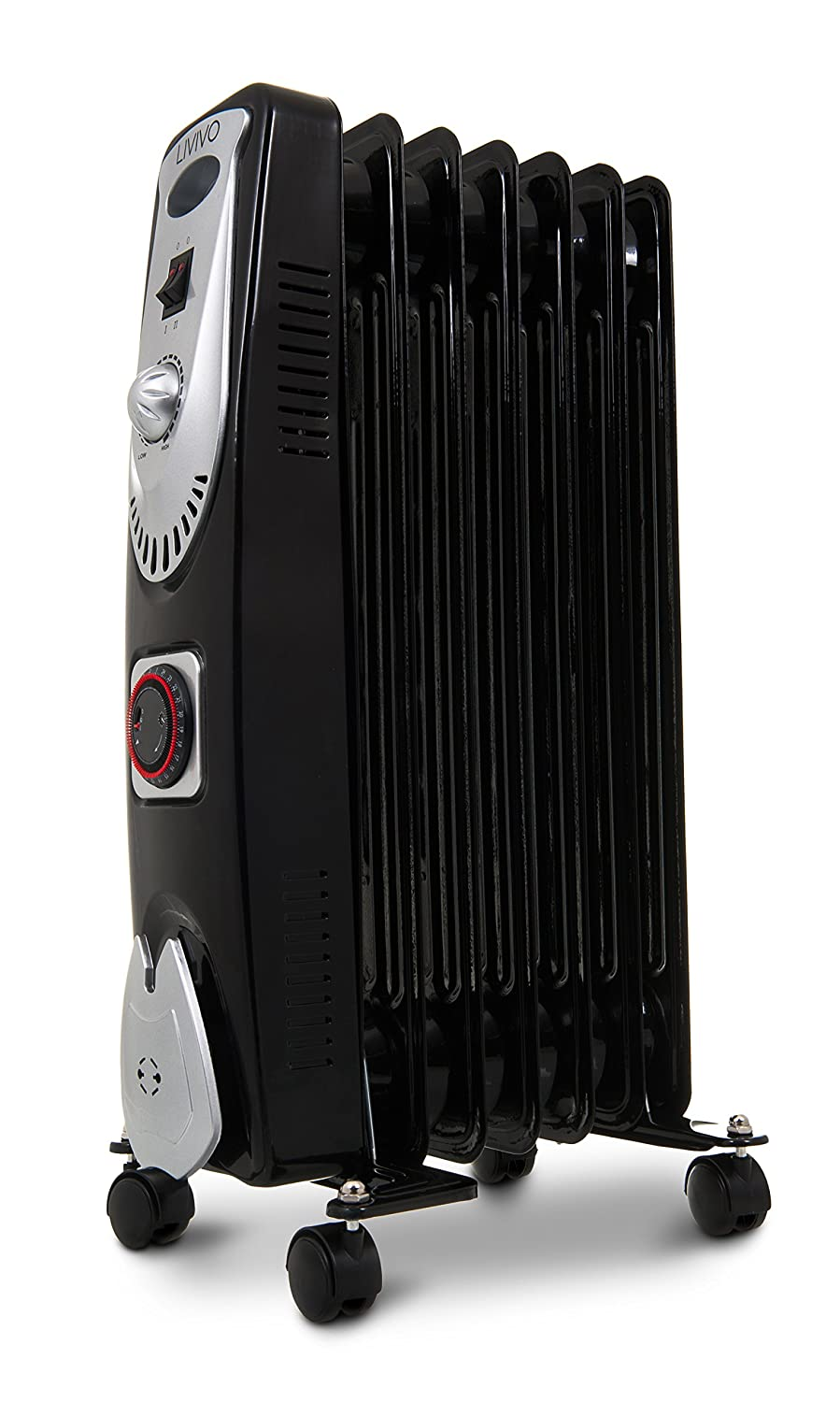 BDUK Portable Electric Black 7 Fin Oil Filled Radiator Heater with 3 Power Levels and Adjustable Temperature Control - Safety Cut Off, Tip-Over Switch and Over Heat Protection (1.5KW) Best Deals UK