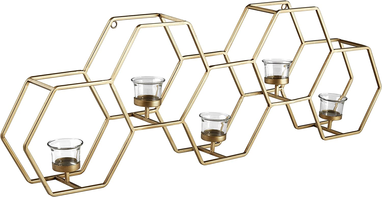 "Amazon Brand – Rivet Modern Metal Wall Mounted Hexagon Tealight Candle Holder Decor - 11.5""H, Gold"