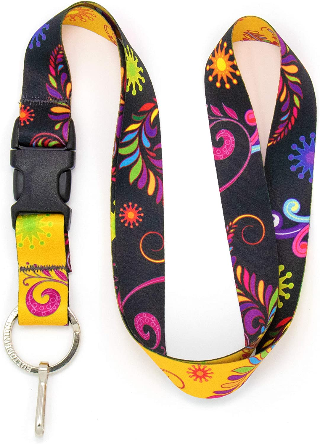 Buttonsmith Bright Floral Premium Lanyard - with Buckle and Flat Ring - Made in The USA