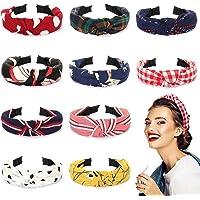 Winpok diademas para mujeres, 10pcs diademas de pelo anchas de punto bandas para el pelo de tela, diademas elásticos…