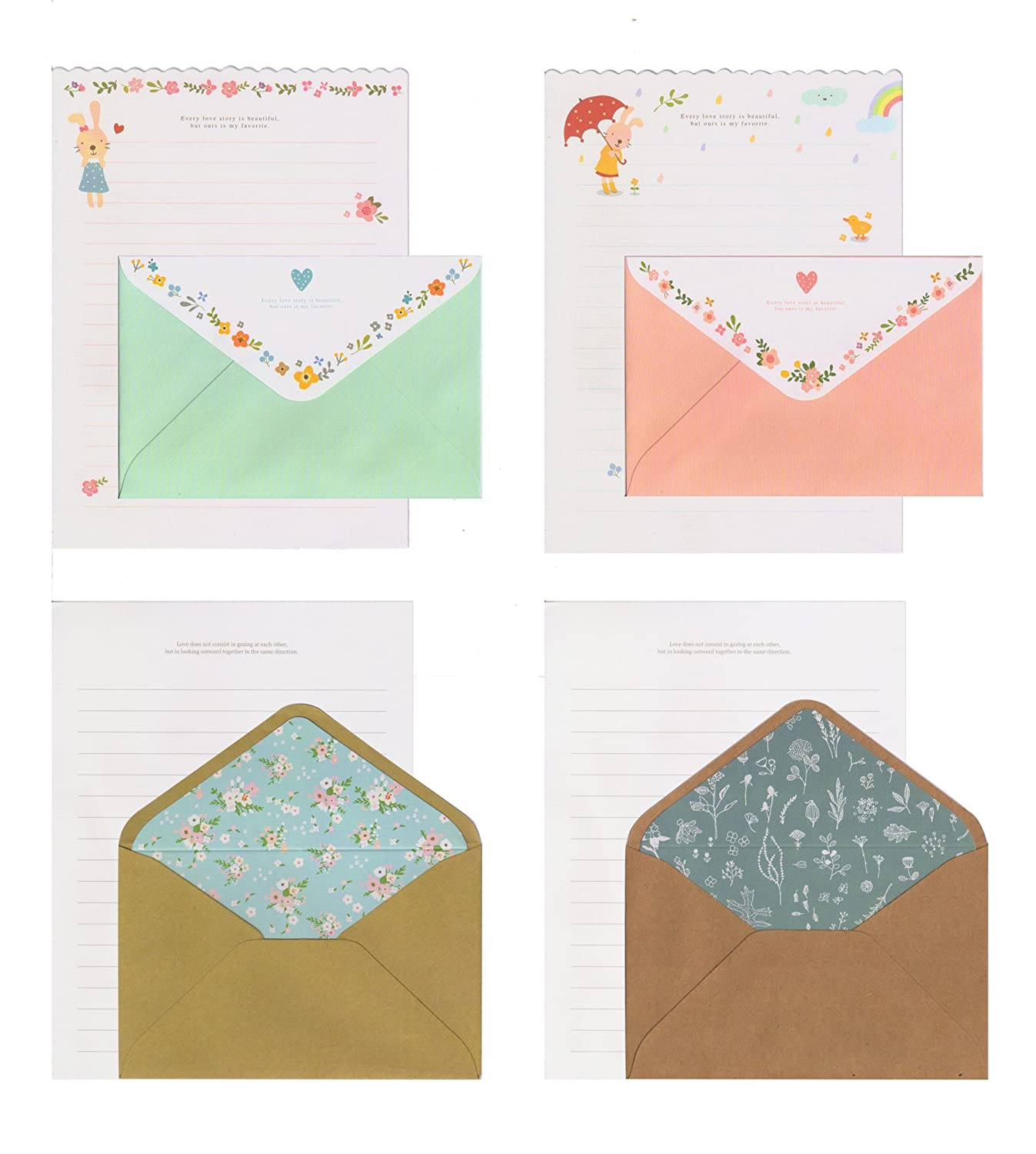 IMagicoo 32 Lovely Cute Writing Stationery Paper Letter Set with 16 Envelope + 1 Sheet Label Seal Sticker (Style-4(8.3x5.8))