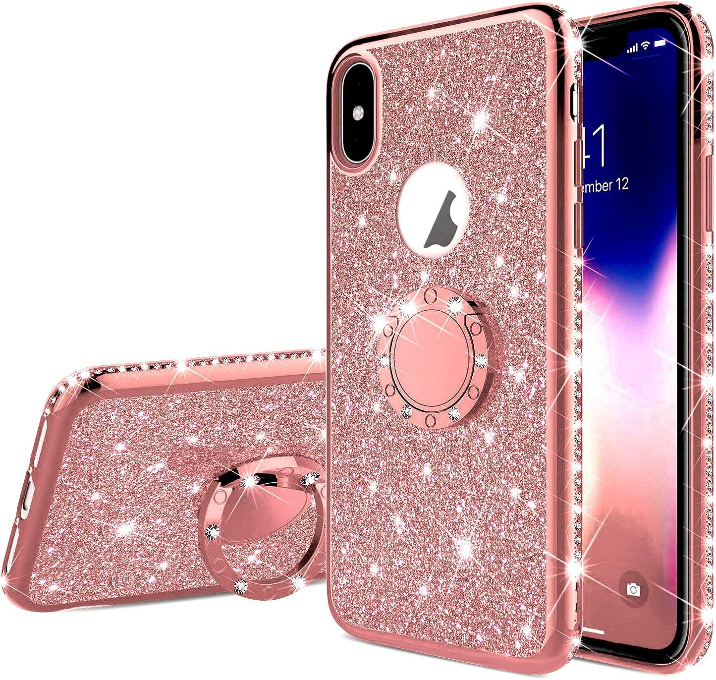 Coque iPhone XR Superbe A Paillettes diamant 3D support support téléphone transparente iphone MAX samsung S8 S9 S10 E Note cover