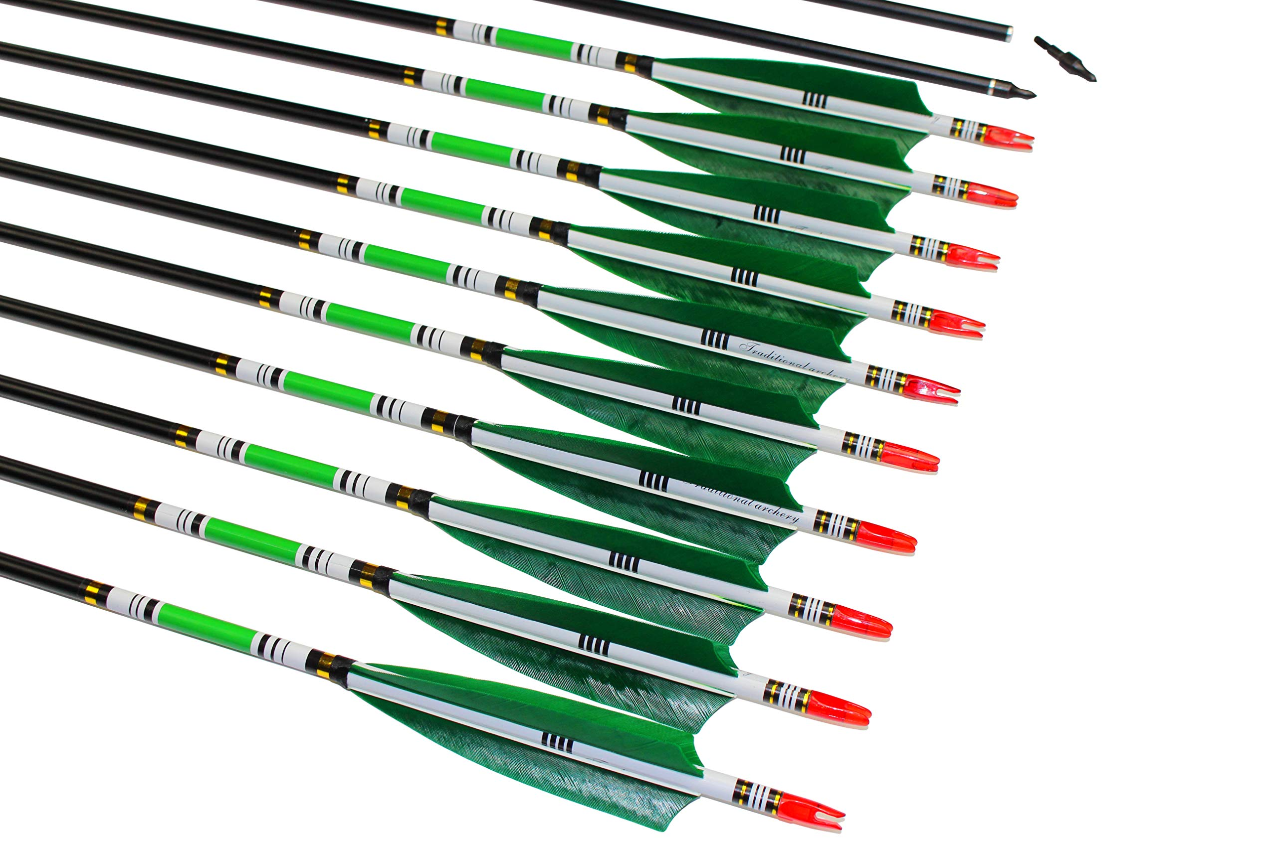 TTAD 31 inch Carbon Arrows Green Turkey Feather Targeting Arrows Archery with Screw-in Field Tips Hunting&Practice(12 Pack) by TTAD