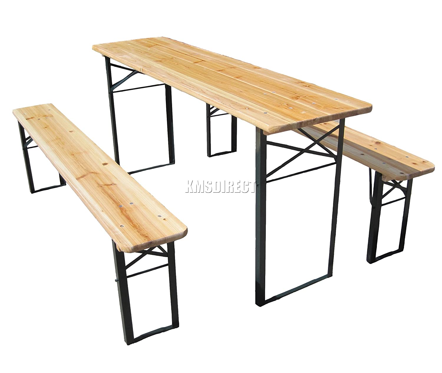 FoxHunter Outdoor Wood Wooden Vingtage Folding Beer Table Bench Set Trestle  Party Picnic Pub Garden Furniture Steel Leg: Amazon.co.uk: Garden U0026 Outdoors