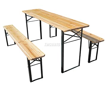 WestWood Outdoor Wood Wooden Vintage Folding Beer Table Bench Set Trestle Party Picnic Pub Garden Furniture  sc 1 st  Amazon UK & WestWood Outdoor Wood Wooden Vintage Folding Beer Table Bench Set ...