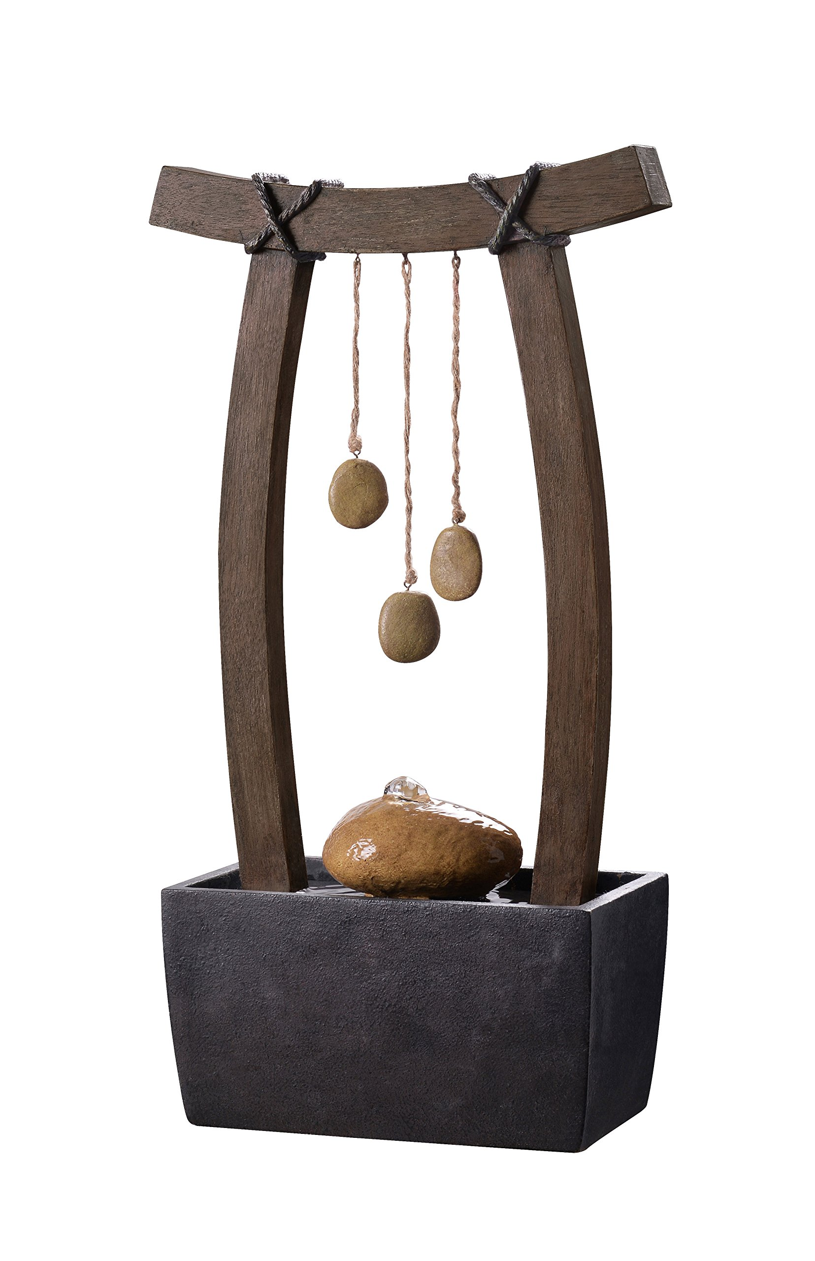 Kenroy Home 51047WDG Reflection Fountains, 21.5 Inch Height, Wood Grain Finish - ZEN TABLE TOP FOUNTAIN: With its three stone accents suspended from a curved faux wood archway, this zen table top fountain adds plenty of Asian-influenced style and the soothing sight and sound of flowing water to your indoor and outdoor living spaces. Place on top of your home office desk, patio table, or accent table, or use as a humidifier in dry rooms. DIMENSIONS: 21.5 Inch Height, 11.5 Inch Width, 6 Inch Ext THERMAL SENSITIVE PUMPS: Our dynamic thermal-sensitive pumps automatically shut off when the water level is too low to cool the pump, saving energy and preventing pump damage over time - patio, outdoor-decor, fountains - 81B2l8K1r L -