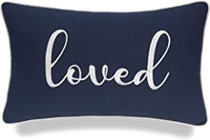 YugTex Loved Embroidered Lumbar Decorative Accent Throw Pillow Cover - Nursery Décor - 12x20, Navy