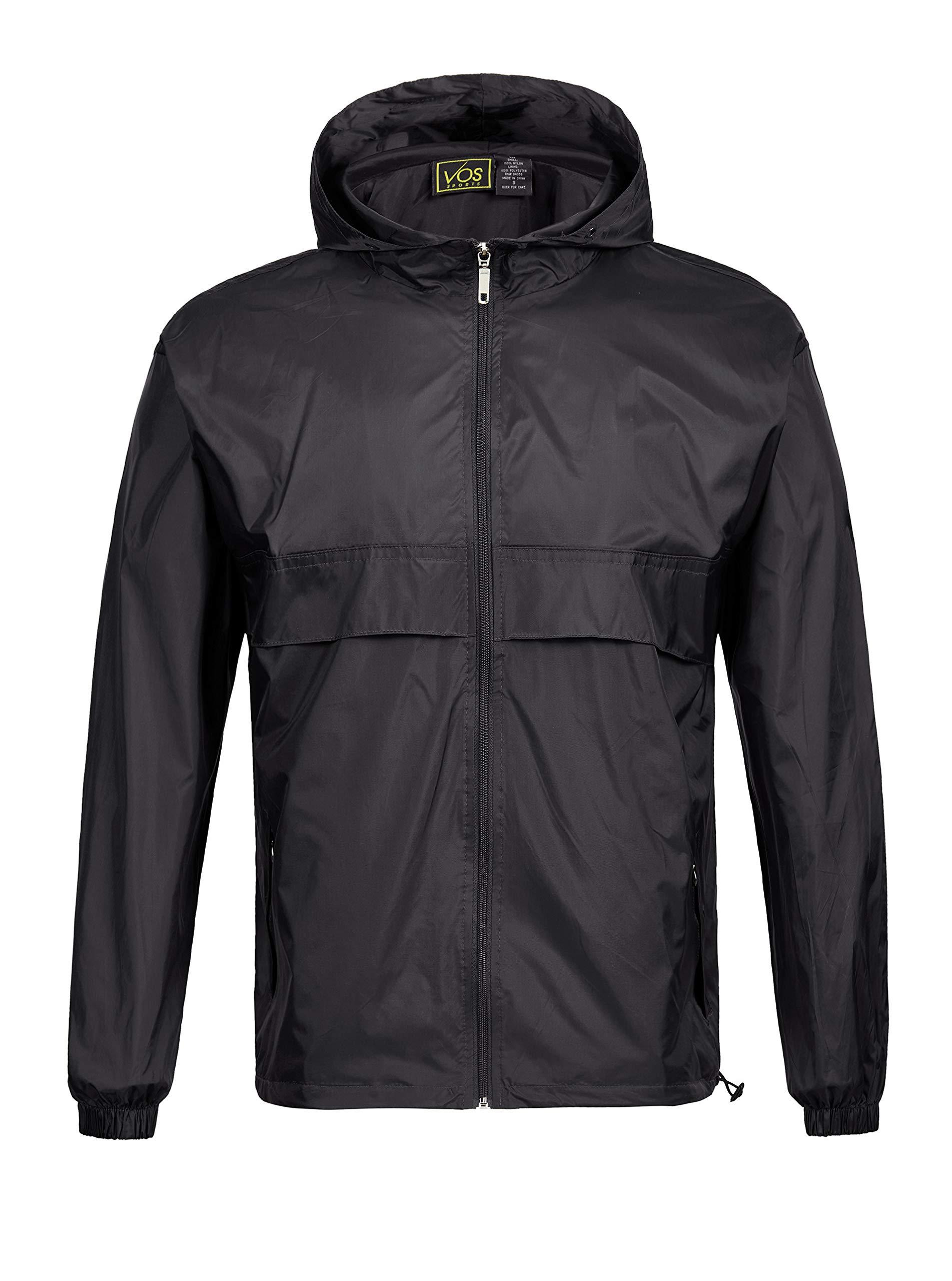 SWISSWELL Men's Lightweight Rain Jacket Waterproof Hooded Rainwear Black,L by SWISSWELL