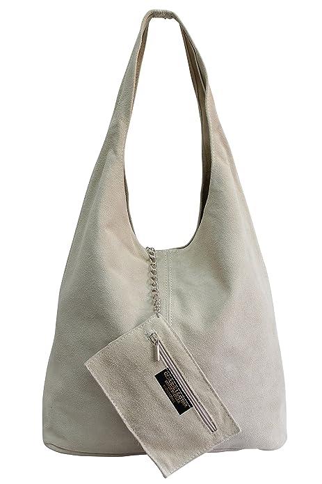 00e6a14f00 AMBRA Moda WL818 - Borsa a tracolla da donna in pelle scamosciata, Beige  (Beige), XL: Amazon.it: Scarpe e borse