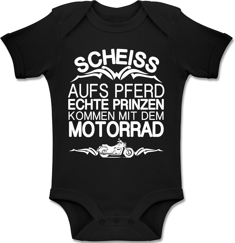 Shirtracer Sprüche Baby Scheiß Aufs Pferd Echte Prinzen Kommen Mit Dem Motorrad Baby Body Kurzarm Für Jungen Und Mädchen
