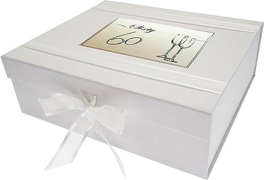 White Cotton Cards – Caja de Recuerdos, de 60 años de cumpleaños, tamaño Grande, Copas, Junta, Color Blanco, 27,2 x 32 x 11 cm: Amazon.es: Hogar