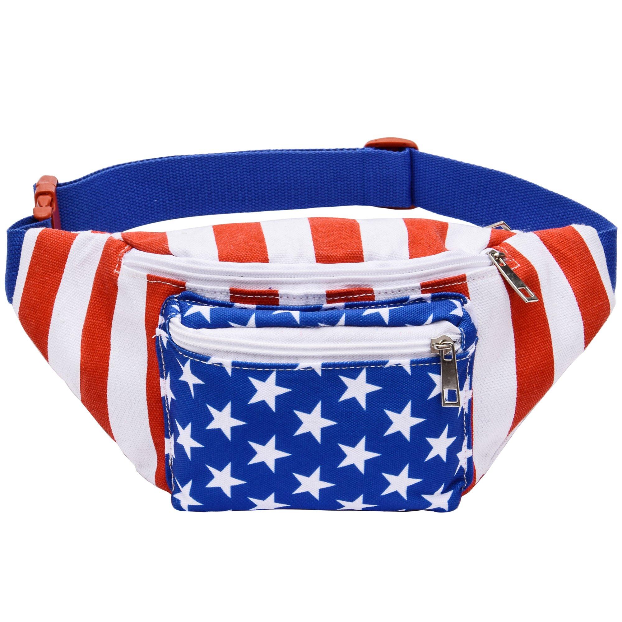 Kayhoma USA American Flag Fanny Pack Stars and Stripes Bum Bags Rave Waist Bag