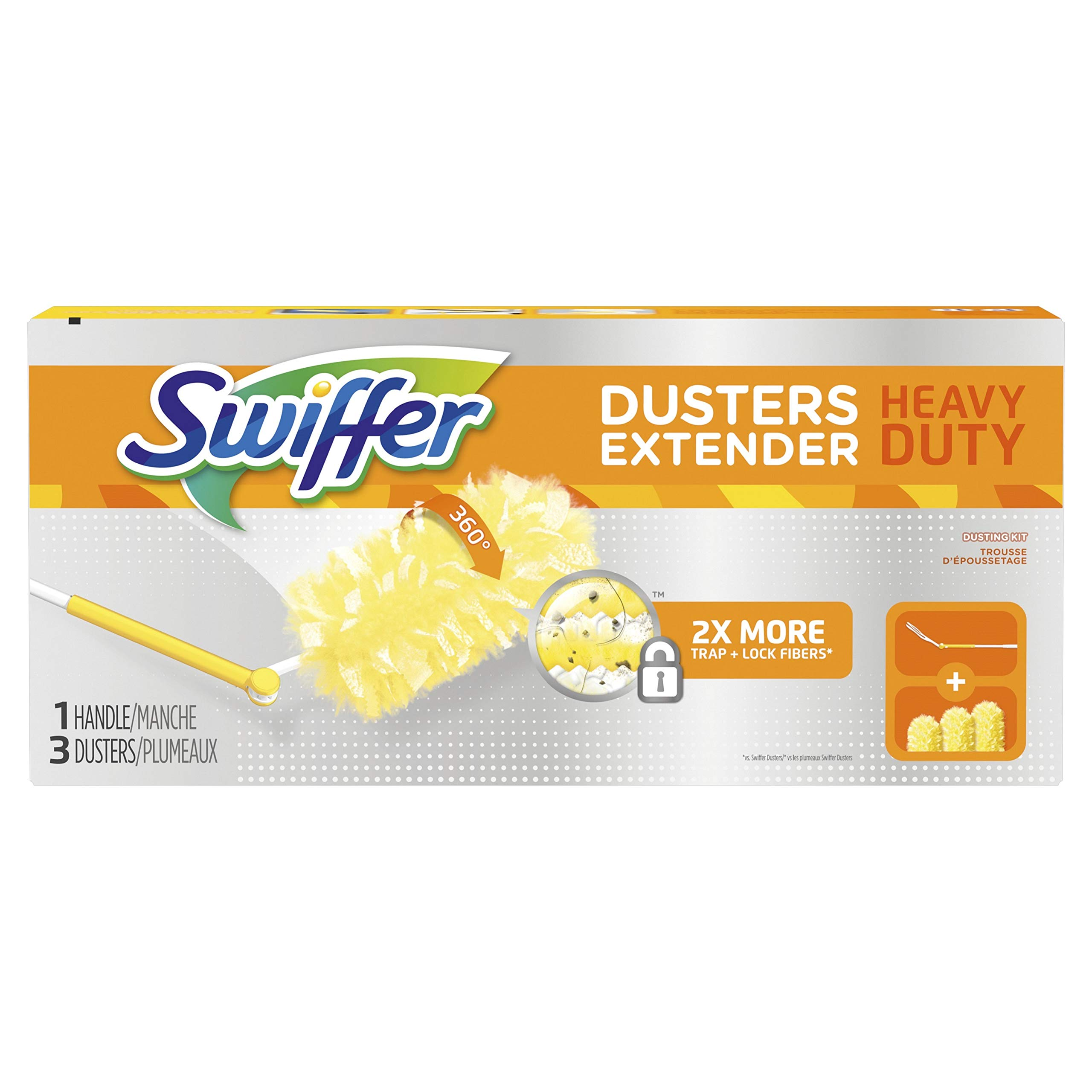 Swiffer 360 Dusters Extendable Handle Starter Kit, 3 Count Duster Refill by Swiffer