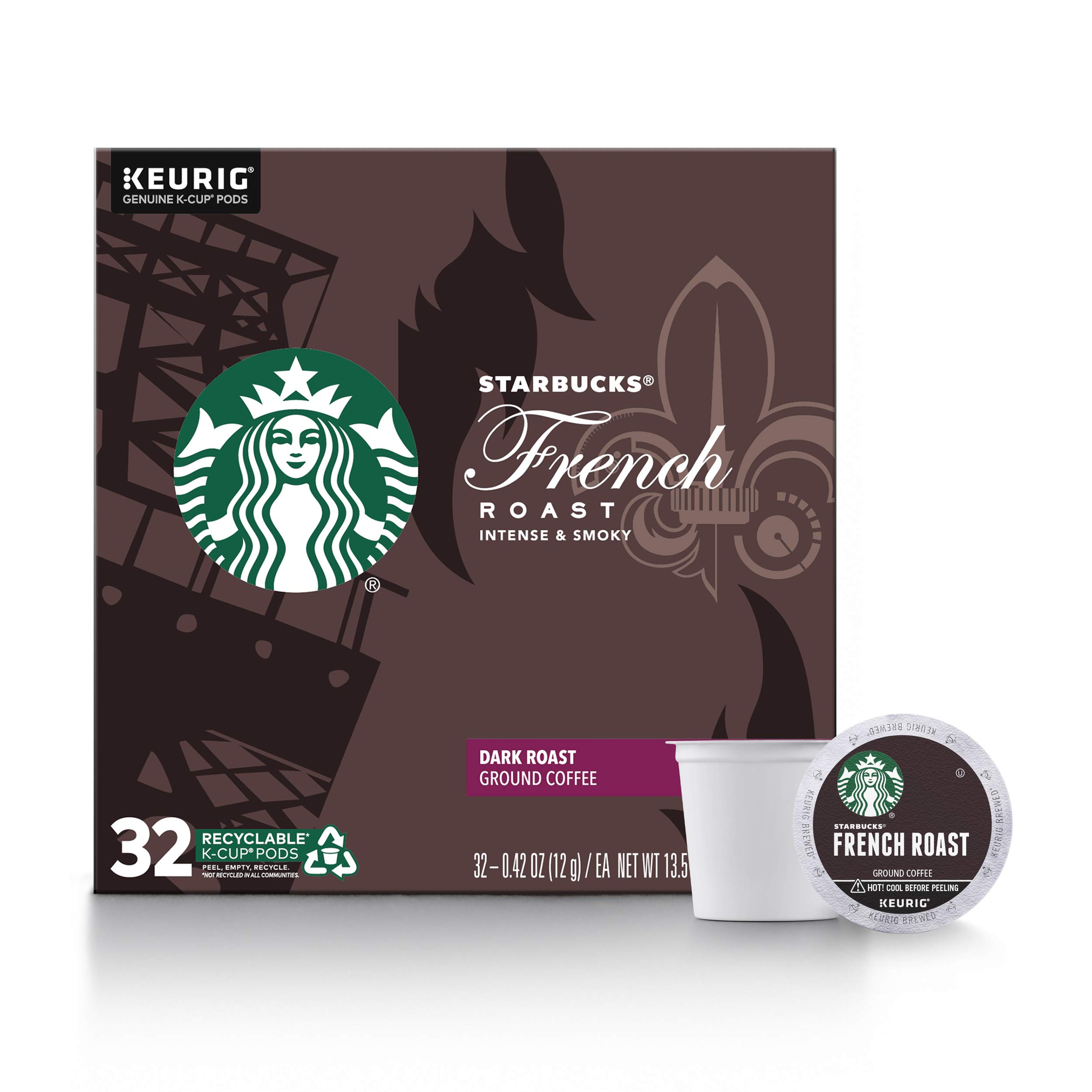 Starbucks Dark Roast K-Cup Coffee Pods — French Roast for Keurig Brewers — 1 box (32 pods)