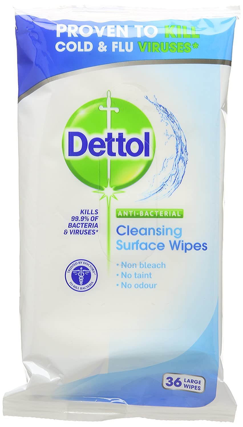 Dettol Anti Bacterial Cleansing Surface Wipes 36 Large Wipes (Pack of 16)