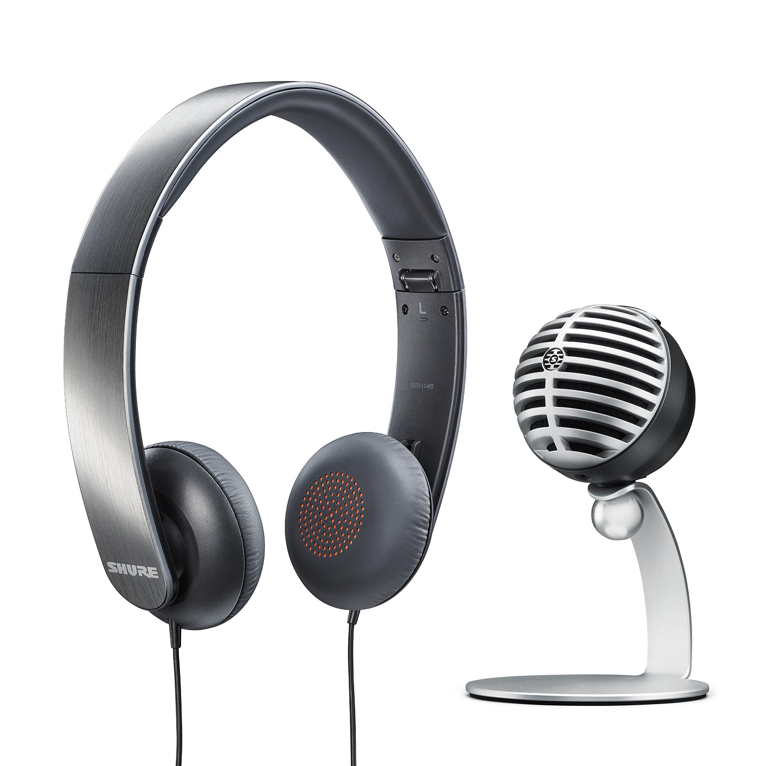 Paquete de juego Shure con micrófono de escritorio USB MV5 (gris) y auriculares SRH145
