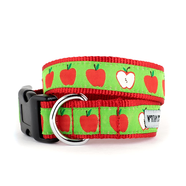 The Worthy Dog Red Apples Adjustable Designer Pet Dog Collar,Green, XS