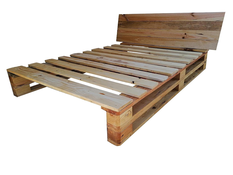 Cama de palets color madera Barnizada para colchón de 135 x ...