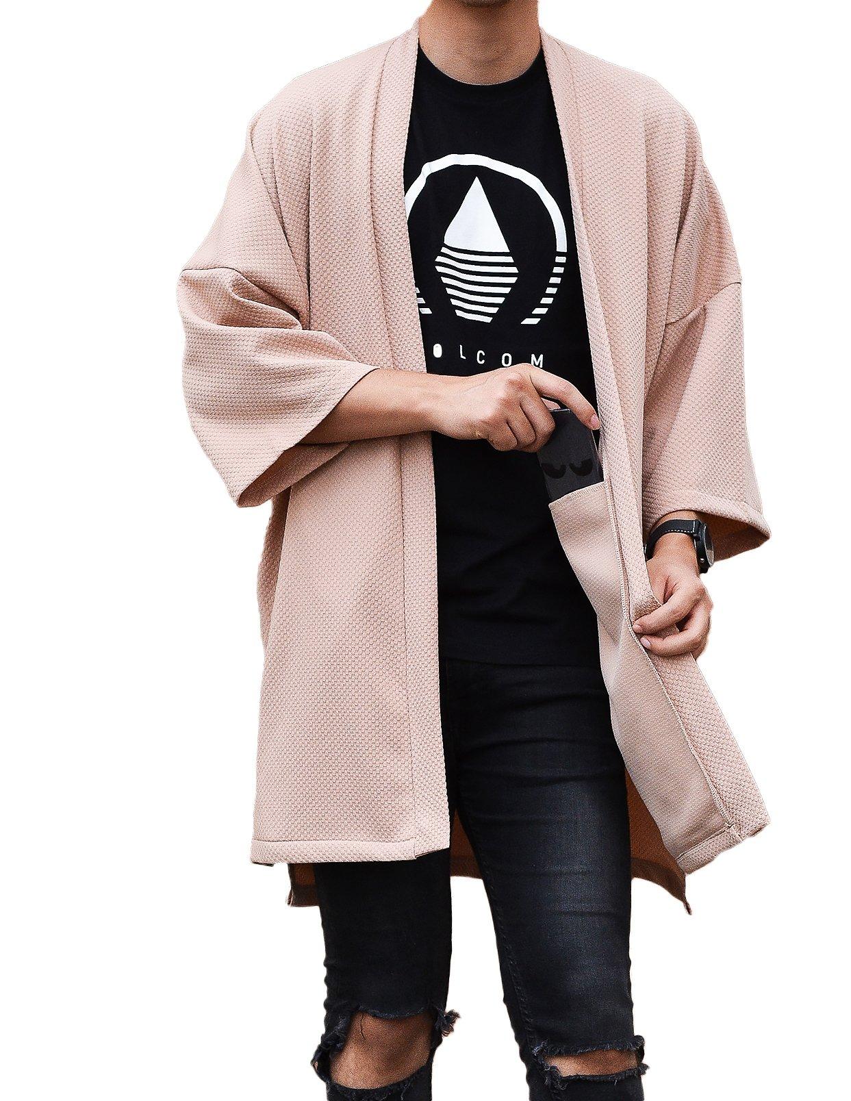 LOST IN BKK Men's Long Oversized Kimono Cardigan Noragi Street Jacket Haori Man Yukata Coat (Beige)