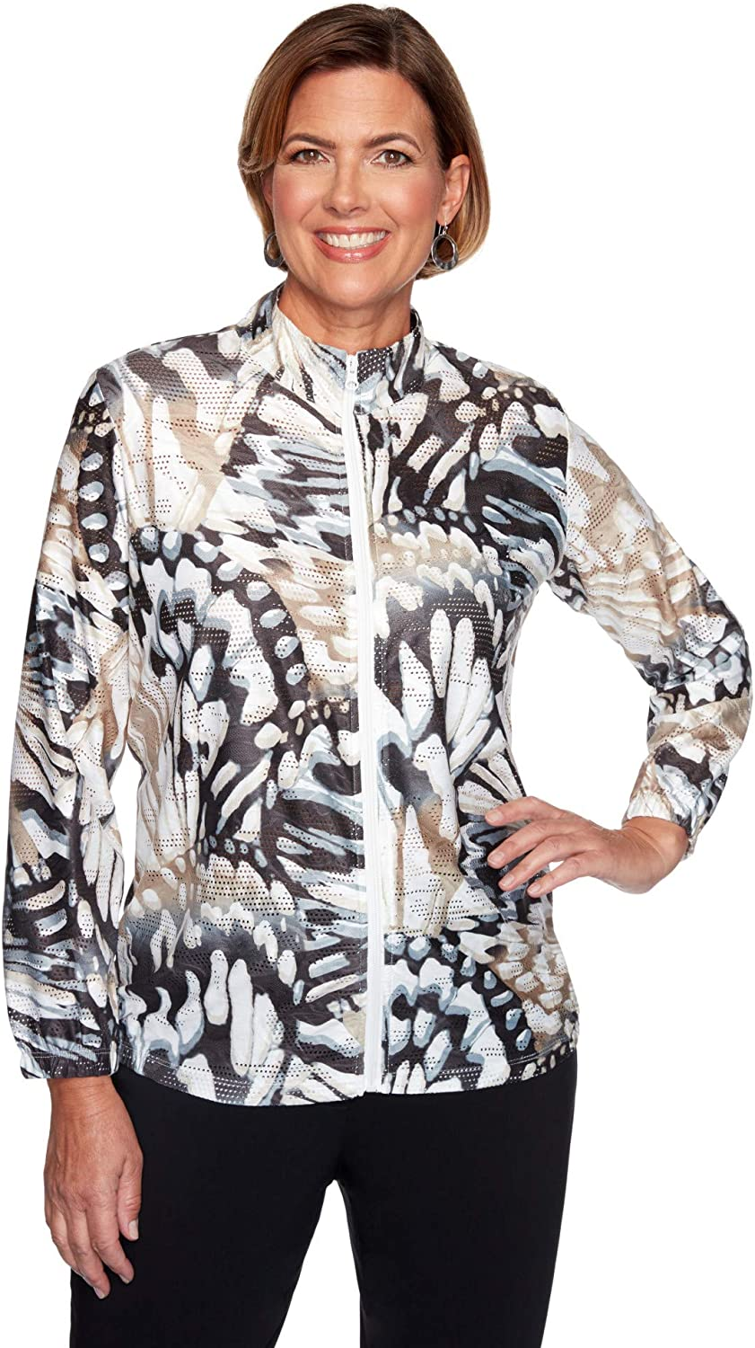 Alfred Dunner Women's Classics Abstract Butterfly Jacket: Clothing