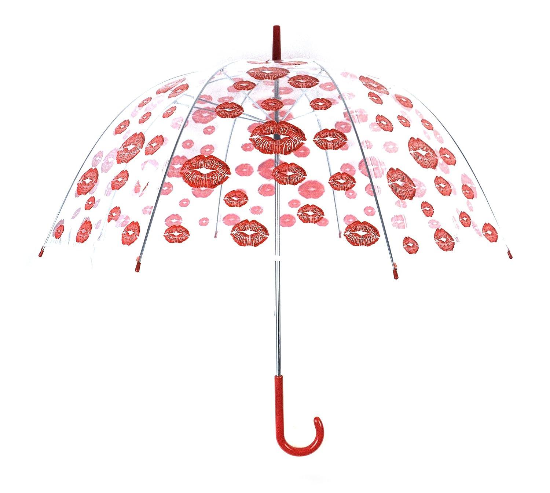 OOTB Parapluie Transparent 80 cm Transparent Kiss Kiss Bouche lè vres Rouge Sonstige 61/1938