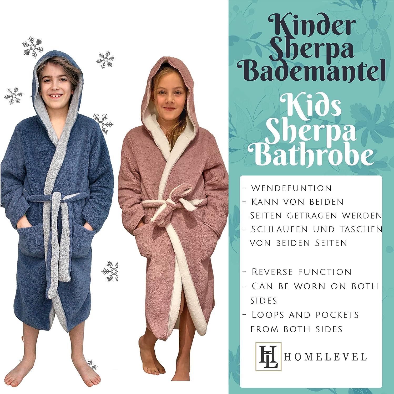 HOMELEVEL Sherpa Wende Bademantel Herren mit Kapuze Morgenmantel Hausmantel Badem/äntel Winter Warm