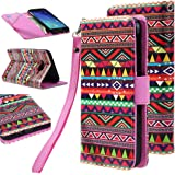 Elv Deluxe PU Leather Flip Wallet Case Cover for Samsung Galaxy J7 2015 - Tribal