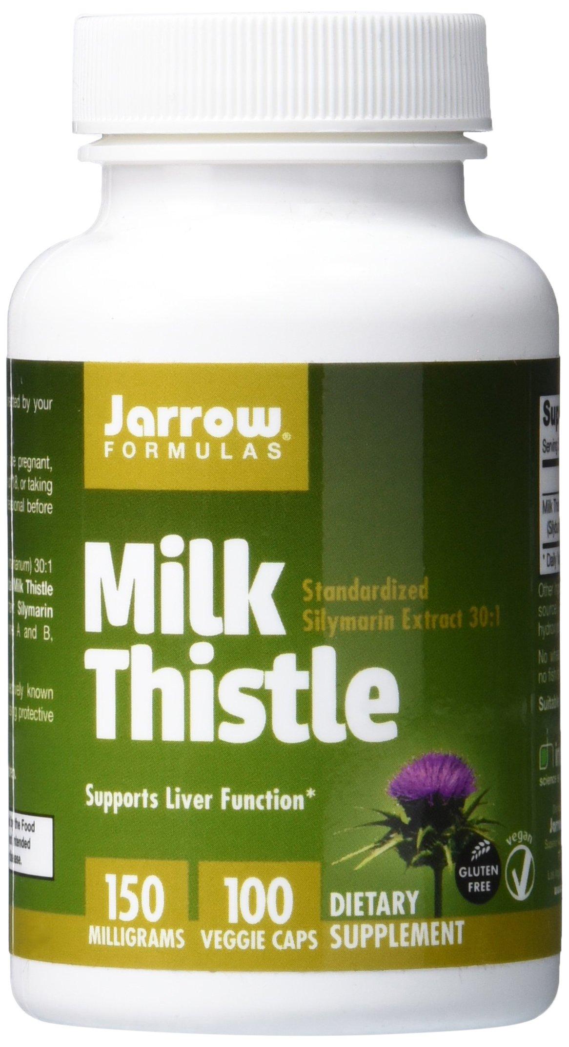 Jarrow Formulas Milk Thistle, Promotes Liver Health, 150 mg Caps, 100 Veggie Capsules