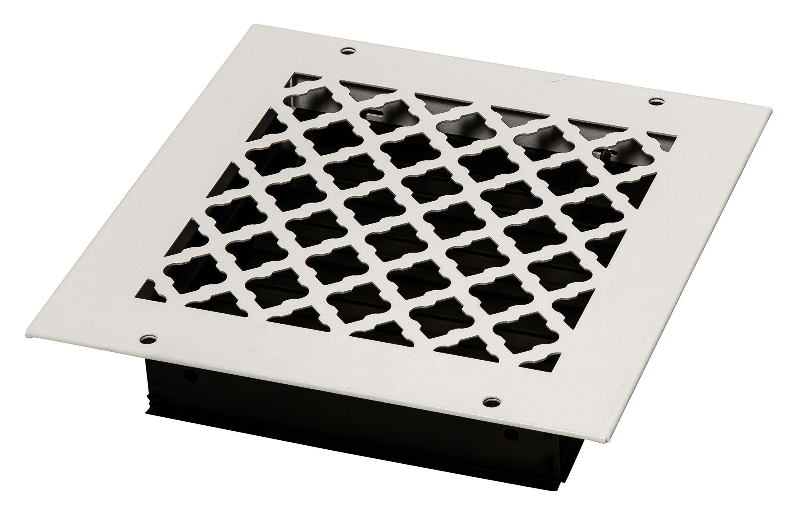 SteelCrest STU8X8SWHH Bronze Series Designer Wall/Ceiling Vent Cover, with mounting Screws, White/Wh by SteelCrest