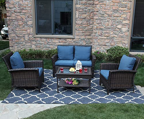 PHI VILLA 4 PC Patio Wicker Sofa Set Outdoor Rattan Furniture Conversation Set