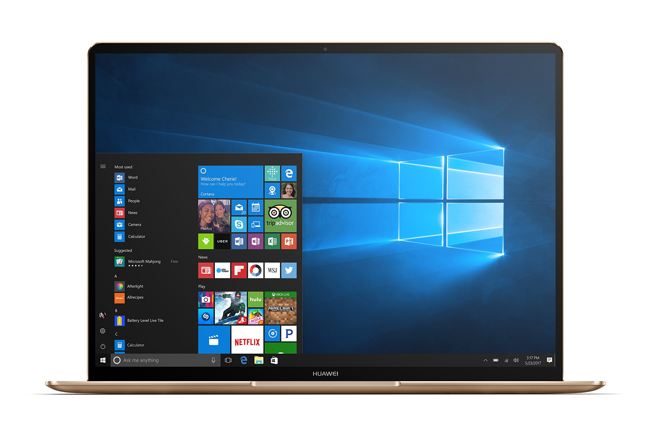 Huawei MateBook X Signature Edition Ultraslim Laptop, 13'' QHD (2K), Intel Core i7-7500U, 8GB RAM, 512GB SSD, Fingerprint, Office 365 Personal, MateDock v2.0, Prestige Gold