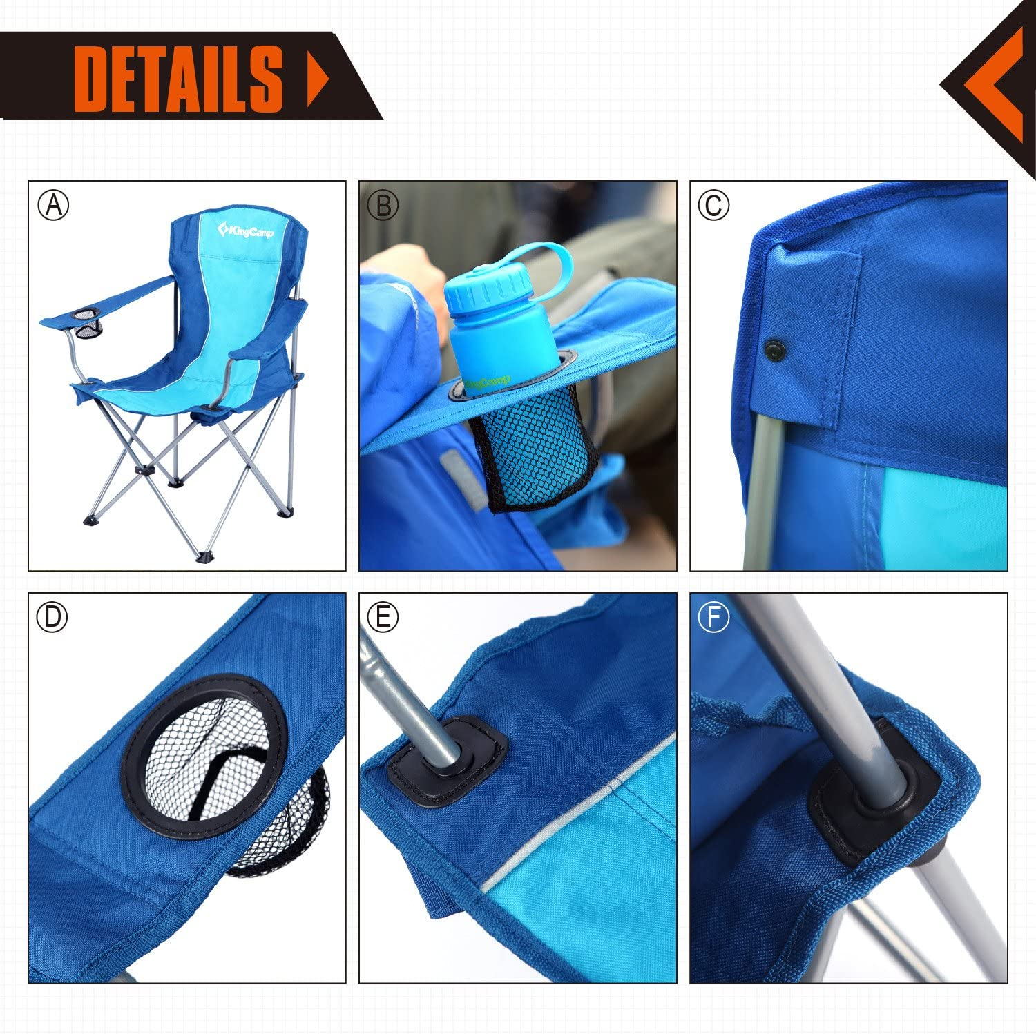 KingCamp Folding Camp Chair Quad Steel Frame with armrest and Mesh Cup Holder Oversized Light Weight Portable Stable for Camping Picnic Backpacking Outdoor with Carry Bag