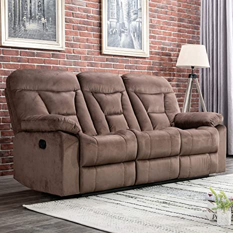 CANMOV Reclining Sofa, Microfiber Fabric Living Room Chair, Manual Recliner Sofa (3 Seater) with Padded Headrest and Back, Chocolate