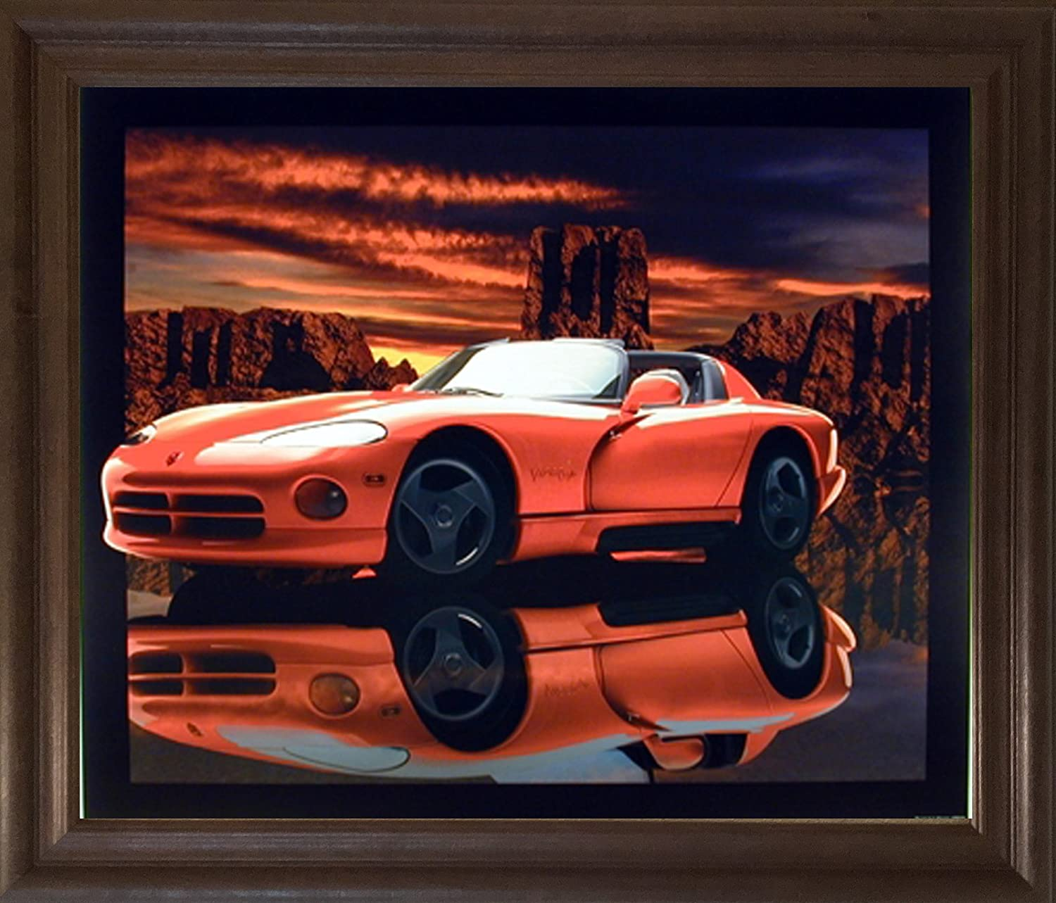 Amazon Com Impact Posters Gallery Classic Sports Car Art Print Framed Wall Decor Red Hot Dodge Viper Lithograph Brown Rust Picture 19x23 Home Kitchen