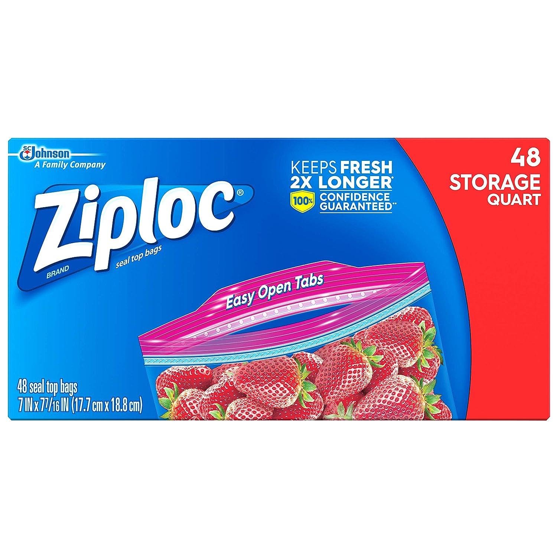 Ziploc Storage Bags, Quart, 48 ct