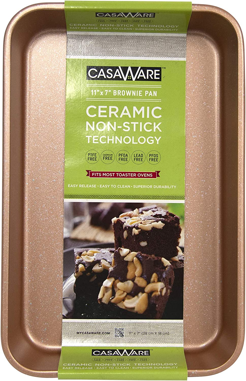 casaWare Toaster Oven Baking Pan 7 x 11-inch Ceramic Coated Non-Stick (Rose Gold Granite)