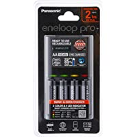 Panasonic K-KJ55HCC40T Eneloop Pro Battery Charger with 4 AA Rechargeable Batteries