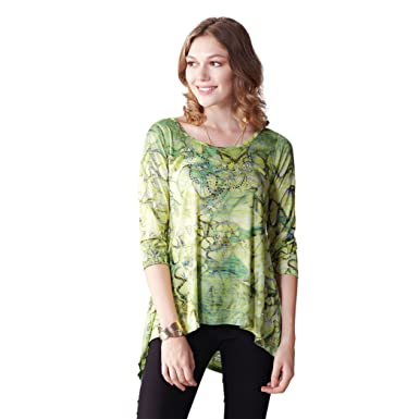 91a008b62bfc67 Image Unavailable. Image not available for. Color  OneWorld Three Quarter  Sleeve Sequins Tunic Top Tie Dyed Blouse for Ladies ...