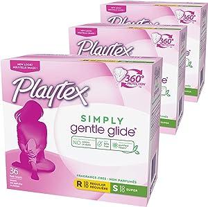Playtex Simply Gentle Glide Multipack Unscented Tampons Regular & Super Absorbencies, 108 Count