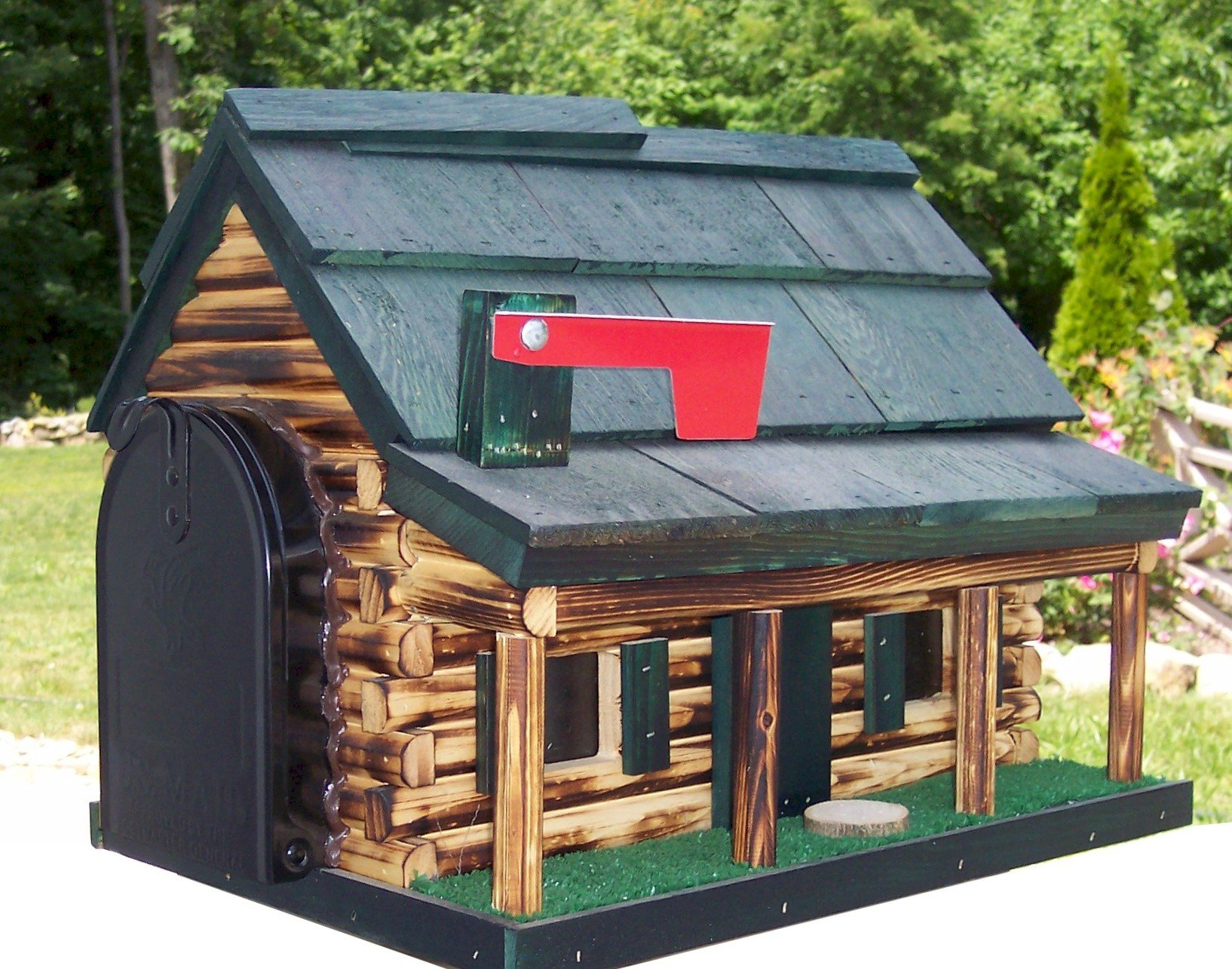 Log Cabin with Porch Wooden Mailbox Green Amish Made in USA by AmishShop.com