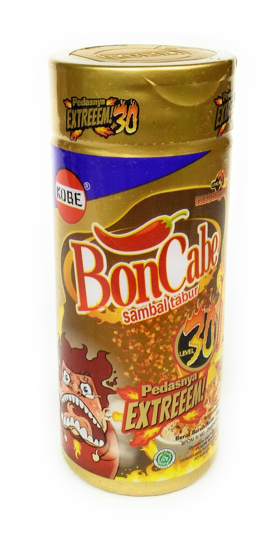 Kobe Bon Cabe (Boncabe) Sambal Tabur (Sprinkle Chili Flakes) Level 30, 40 Gram (Pack of 3)
