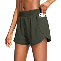 Soothfeel Womens Running Shorts with Phone Pockets High Waisted Athletic Gym Workout Shorts for Women with Liner