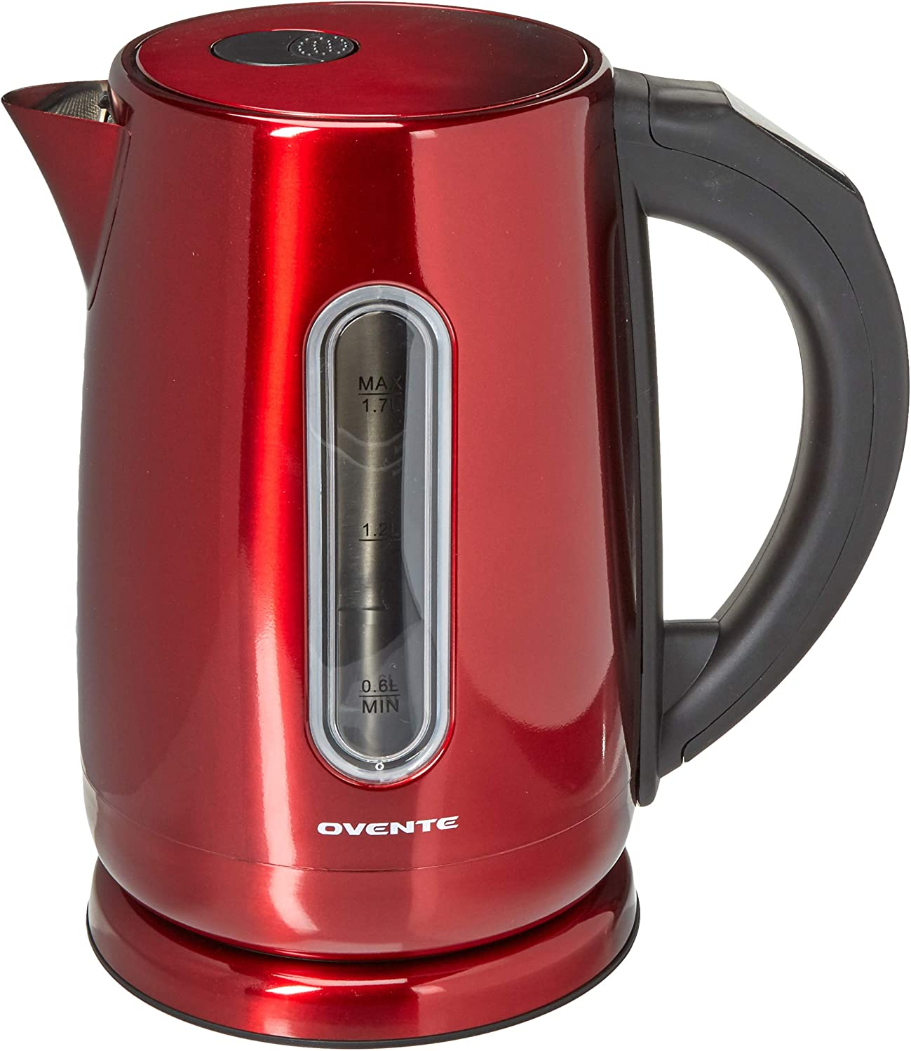 Ovente Electric Hot Water Kettle 1.7 Liter Stainless Steel with Touch Screen Control Panel, 1100 Watts, 5 Preset Settings, Auto Shutoff and Keep Warm Function, Red (KS58R)