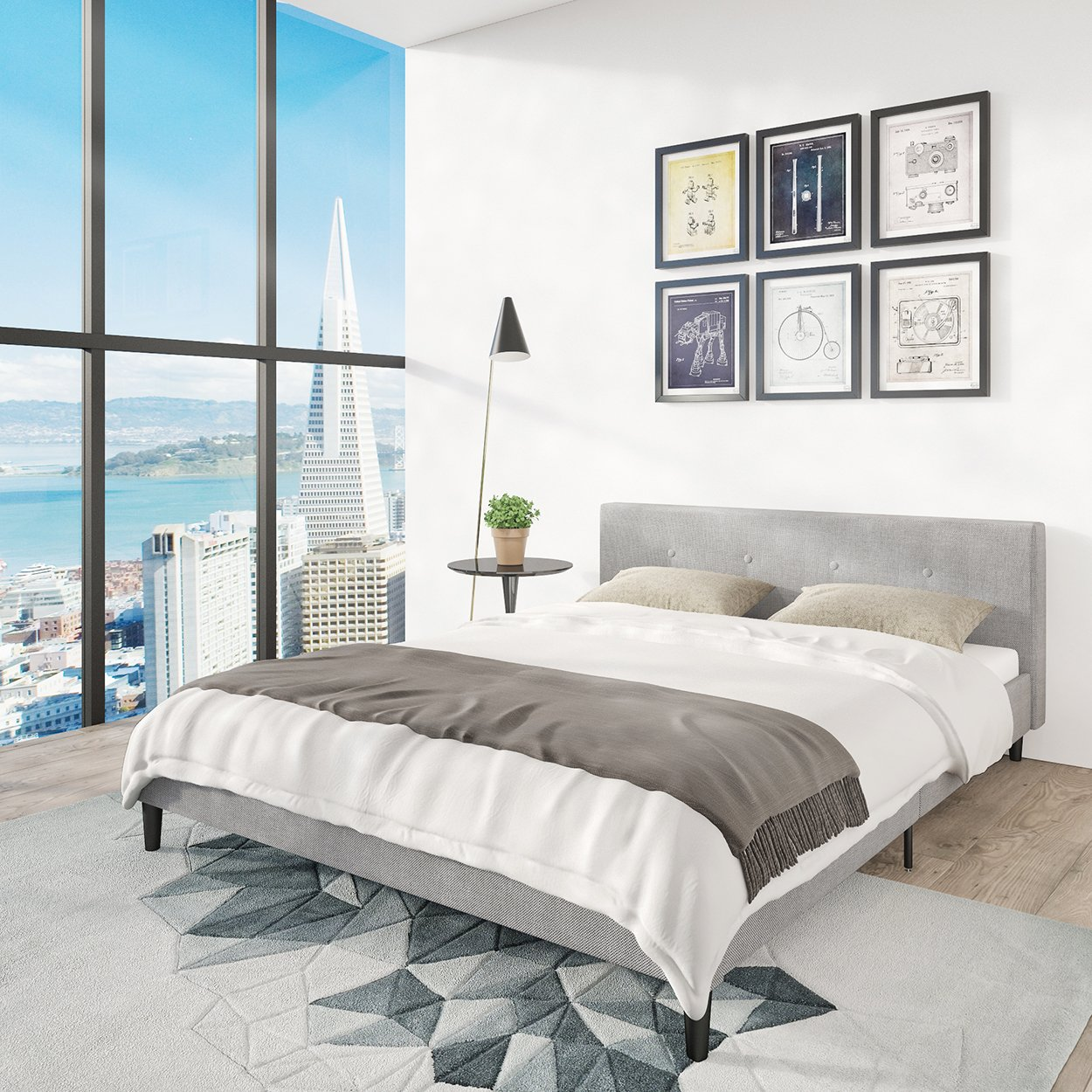 san francisco queen bed frame upholstered low profile headboard platform bedframe gray linen modern style silver grey cloth bedroom mattress furniture - Bed Frames With Mattress Included