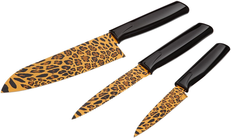 KUHN RIKON 23536 Messer Colori Safari Küchenmesser Set Leopard Bestehend  Aus Gemüsemesser 19,5 Cm/Küchenmesser Gezackt 23,8 Cm Und Kochmesser 28,7  Cm ...